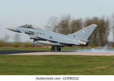 LEEUWARDEN, NETHERLANDS MAR 31 2017: Eurofighter EF2000 Typhoon during Frisian Flag exercise