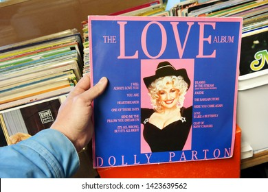 LEEUWARDEN, THE NETHERLANDS - MARCH 11, 2015: LP record of the American singer-songwriter Dolly Parton in a second hand store.