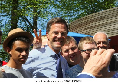 LEEUWARDEN, NETHERLANDS - May 5, 2018. Prime Minister Mark Rutte of the Kingdom of the Netherlands is visiting Liberation Day (Bevrijdingsdag) festival in the Prinsentuin in Cultural Capital of Europe