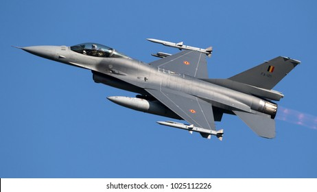 LEEUWARDEN, THE NETHERLANDS - MRT 28, 2017: Belgian Air Force F-16 fighter jet plane taking off during NATO exercise Frisian Flag