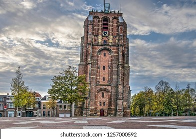 Leeuwarden, The Netherlands, November 3, 2018: view from the adjacent square towards the leaning Oldehove 16th century solitary church tower