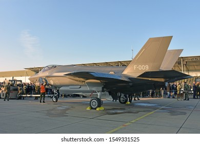 "LEEUWARDEN, THE NETHERLANDS, OCTOBER 31, 2019 - A Dutch F-35 ""Joint Strike Fighter"" from the Dutch Royal Airforce is landed on Airforce Base Leeuwarden."