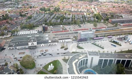 Leeuwarden, the Netherlands, september 1, 2018 - Aerial view ove
