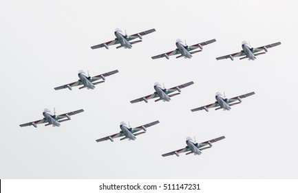 LEEUWARDEN, THE NETHERLANDS-JUNE 11, 2016: Italian aerobatic team Frecce Tricolori (Tricolor arrows) performs a show at the Dutch Airshow on June 11, 2016 at Leeuwarden Airfield, The Netherlands.