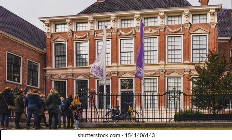 "Leeuwarden,Netherlands - October 19, 2019 :  Group of tourists gathered at Ceramics Museum Princessehof on ""Grote Kerkstraat"" in Leeuwarden the capital of the province of Friesland, Netherlands"