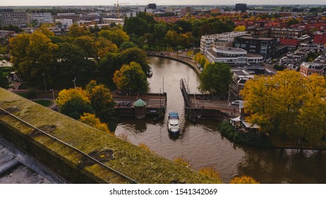 Leeuwarden,Netherlands - October 19, 2019 : Leeuwarden the capital of the province of Friesland, Netherlands, bridge lifting for boat pass