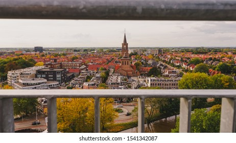 Leeuwarden,Netherlands - October 19, 2019 : Leeuwarden the capital of the province of Friesland, Netherlands, view from the famous leaning Oldehove tower