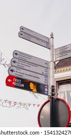 Leeuwarden,Netherlands - October 19, 2019 :  Multiple street signs in Leeuwarden the capital of the province of Friesland, Netherlands
