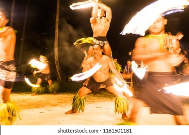 Lefaga, Matautu, Samoa - August 1, 2018: Fiafia show with fire dancers at Return to Paradise resort on Upolu Island