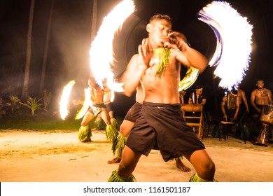 Lefaga, Matautu, Samoa - August 1, 2018: Fiafia show with music and fire dancers at Return to Paradise resort on Upolu Island