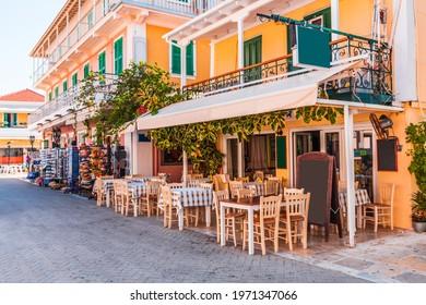 Lefkada, Greece. Greek taverna in Lefkada city old town.