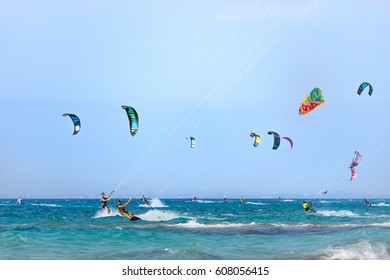LEFKADA, GREECE - JULY 26, 2016: Unidentified kite-surfer rides at famous Milos beach in summer day on July, 26, 2017 in Lefkada, Greece.