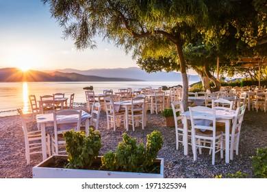 Lefkada, Greece. Nikiana beach taverna at sunrise, Lefkada island, Greece.