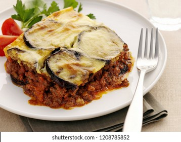 Lefkada/ Greece - September 03 2018: portion of delicious moussaka with eggplant cooked from authentic recipe