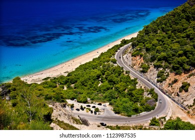 LEFKADA ISLAND, IONIAN SEA, GREECE. Pefkoulia beach, on the west side of  island.
