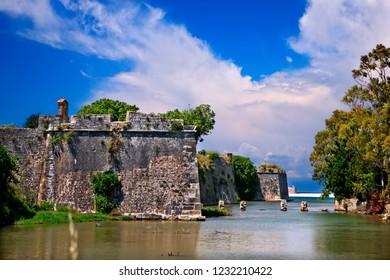 LEFKADA ISLAND, IONIAN SEA, GREECE. The castle of Agia Mavra.