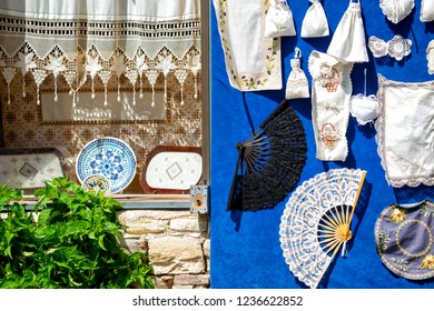 Lefkaritika or Lefkara Lace, traditional embroidery at Pano Lefkara. Larnaca district, Cyprus.