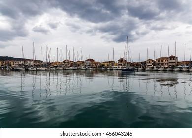 LEFKAS, GREECE 20.06.2016 Yachts docked in the city marina.
