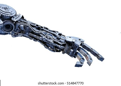 Left arm of a robot made from car parts and spares. Isolated background