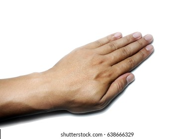 A left Asian man hand isolated on white background with clipping path. - Hand pointing use for watch or ring testing.