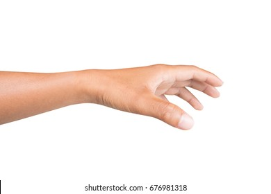 left back hand of a man trying to reach or grab something. fling, touch sign. Reaching out to the left. isolated on white background