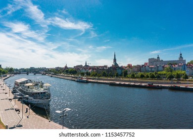 The left bank of the Oder in Szczecin together with the Pomeranian Dukes' Castle, Szczecin