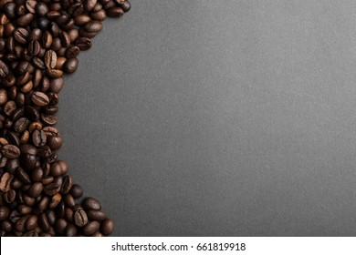 left banner  coffee grain background on gray table