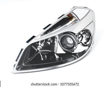 Left car headlight isolated on white background. 3D illustration.