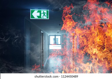 left exit sign on fire