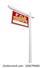 Left Facing Sold For Sale Real Estate Sign Isolated on a White Background.