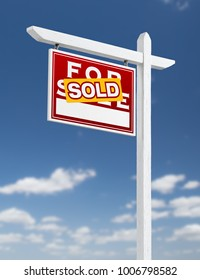 Left Facing Sold For Sale Real Estate Sign on a Blue Sky with Clouds.