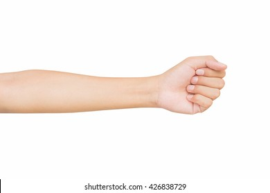 left front hand a man show the zero number, hammer, raise number, count number on hand, left hand Pretending to punch, isolated over white background