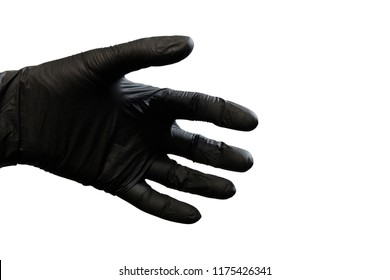 Left hand in black glove on white background. Isolated. Copy space.