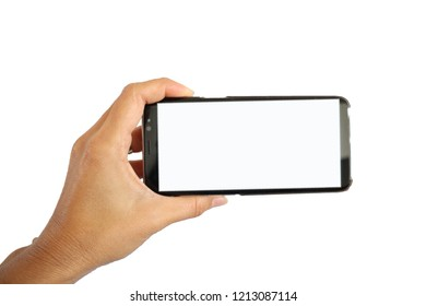 Left  hand hold smart phone with white touch screen