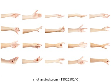 left hand multiple collection of asian in gestures with white skin isolated on white background