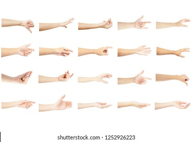 left hand multiple collection with reaching out in gesture of man and woman isolated on white background