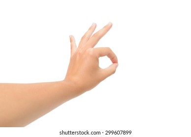 Left hand OK sign isolated on white background