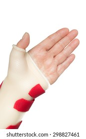 Left hand palm with wrist and thumb splint
