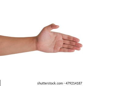 left hand for shaking isolated background