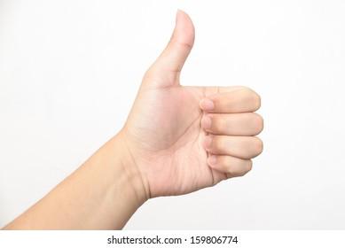 Left hand thumb up