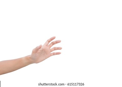 left hand of a woman trying to reach or grab something. fling, touch sign. Reaching out to the left. isolated on white background