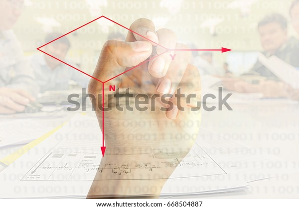 Left Hand Writing Sequence Flow Diagram Stock Photo (Edit