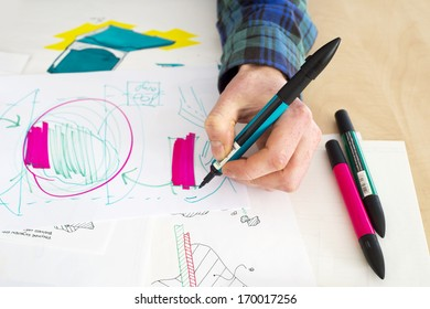 Left handed designer making a rough sketch of a system solution during the product design process