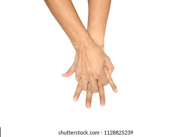 left and right adult naked  hand  doing CPR  on white background isolated