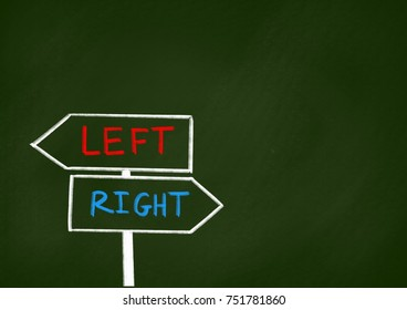 left or right direction concept Chalk drawing on school blackboard.