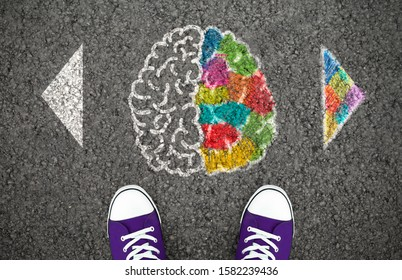 Left Right Human Brain Concept. Creative and logic hemisphere. Top view illustration on the asphalt road
