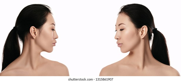 left and right profile of beautiful young asian woman with on white background closeup. girl with clean skin