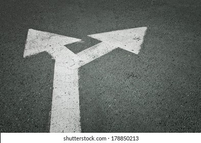 Left and right road sign on the road