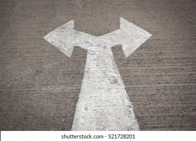 Left and right sign on the road
