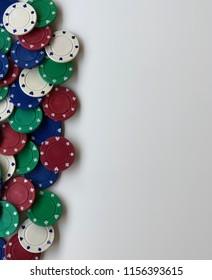 Left side border Poker chips - Red, Blue, Green & White